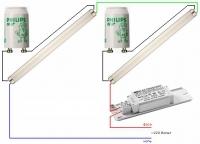 Наглядная схема подключения двух люминесцентных ламп