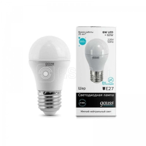 Лампа светодиодная Elementary 6Вт шар 4100К белый E27 450лм 180-240В GAUSS 53226