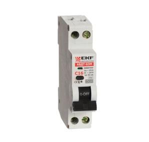 Выключатель автоматический дифференциального тока 1мод. С 16А 30mA тип А 6кА АВДТ-63М (электрон.) PROxima EKF DA63M-16-30