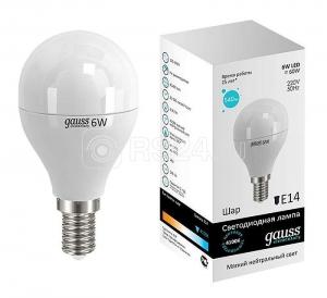 Лампа светодиодная Elementary 6Вт шар 4100К белый E14 420лм 180-240В GAUSS 53126
