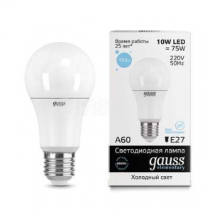 Лампа светодиодная LED Elementary A60 10Вт E27 6500К Gauss 23230