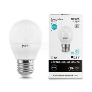 Лампа светодиодная LED Elementary Globe E27 8Вт 4100К Gauss 53228
