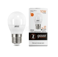 Лампа светодиодная LED Elementary 10Вт шар 3000К E27 880лм Gauss 53210