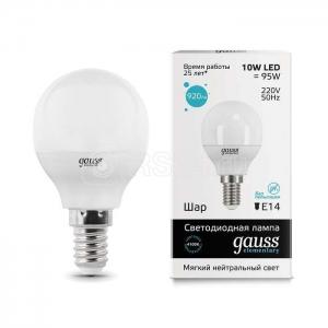 Лампа светодиодная LED Elementary Globe 10Вт E14 4100К Gauss 53120