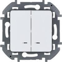 Механизм выключателя 2-кл. Inspiria 10А IP20 250В 10AX с подсветкой / индикацией алюм