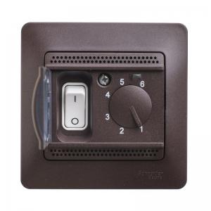 Термостат электорон. теплого пола GLOSSA с датчиком 10А шоколад SchE GSL000838