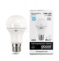 Лампа светодиодная LED Elementary A60 15Вт E27 6500К Gauss 23235