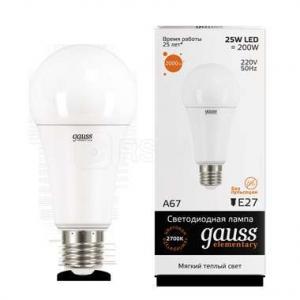 Лампа светодиодная LED Elementary A67 25Вт E27 3000К Gauss 73215
