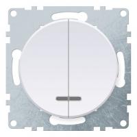 Механизм выключателя 2-кл. СП Florence с подсветкой бел. OneKeyElectro 1E31801300