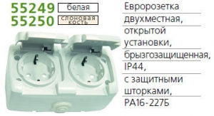 Розетка 2-м ОП Рондо с защ. крышкой защ. шторки с заземл. IP44 бел. SchE RA16-227B-BI (РА16-227Б-би)