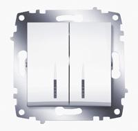 Механизм выключателя 2-кл. Cosmo с подсветкой бел. ABB 619-010200-203