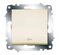 """Выключатель кнопочный Cosmo с символом """"ключ"""" крем. ABB 619-010300-204"""