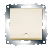 """Выключатель кнопочный Cosmo с символом """"звонок"""" крем. ABB 619-010300-207"""
