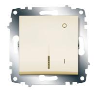 Выключатель Cosmo 2п с подсветкой крем. ABB 619-010300-236