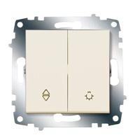 Переключатель Cosmo схема 6 + выключатель кноп. крем. ABB 619-010300-281
