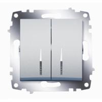 Механизм выключателя 2-кл. Cosmo с подсветкой алюм. ABB 619-011000-203