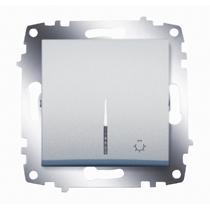 Выключатель кнопочный Cosmo с подсветкой алюм. ABB 619-011000-206