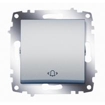 """Выключатель кнопочный Cosmo с символом """"звонок"""" алюм. ABB 619-011000-207"""