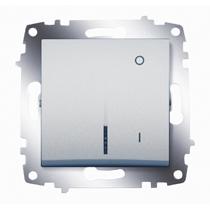 Выключатель Cosmo 2п с подсветкой алюм. ABB 619-011000-236