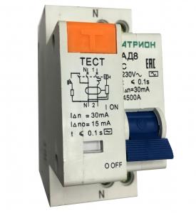 Выключатель автоматический дифференциального тока 1P+N C 30мА 4.5кА АД-8