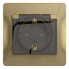 Розетка 1-м СП Glossa с защ. крышкой, защ. шторки с заземлением IP44