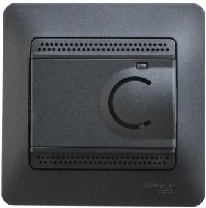 Термостат электрон. теплого пола GLOSSA с датчиком от+5град.С до+50град.C 10А в сборе антрацит SchE GSL000738